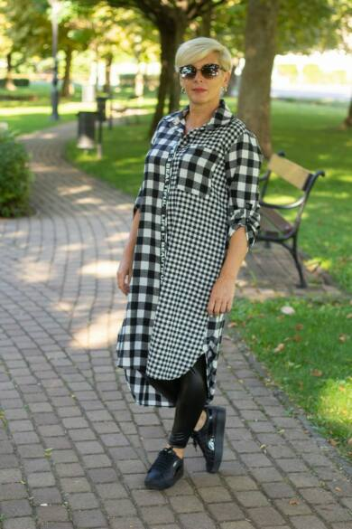 Sento fekete-fehér flanel hosszított ing