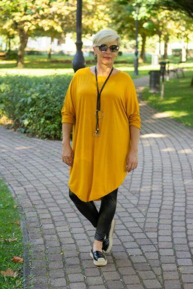 Mocca mustár színű pamut tunika