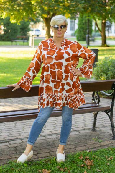 Rozsda - fehér mintás fodros tunika-ruha