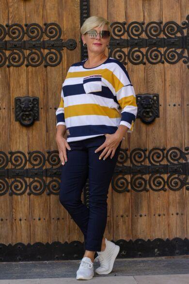 Mustár-kék-fehér laza stílusú pamut felső 3XL