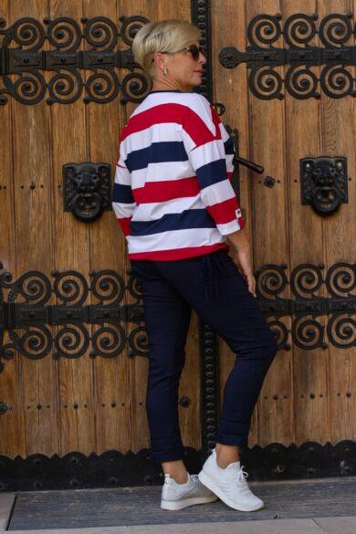 Piros-kék-fehér laza stílusú pamut felső
