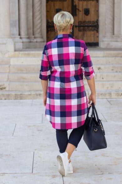 Pink-sötétkék kockás ing