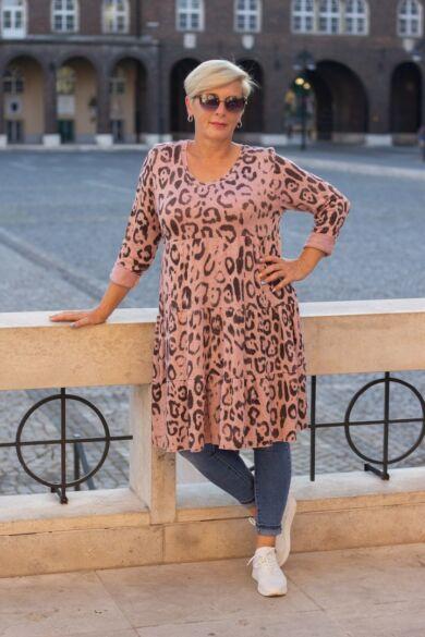 Stella púder szín alapon mintás puha kötött tunika-ruha