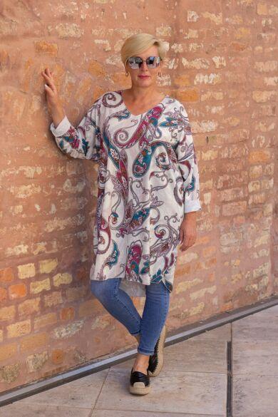 Dia laza stílusú színes mintás vékony kötött pulóver