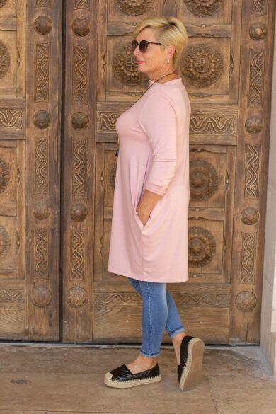 Natalia púder színű oldalt zsebes tunika-ruha