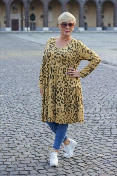 Stella mustár szín alapon mintás puha kötött tunika-ruha
