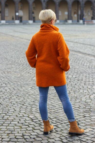 Lili rozsda színű vastag filc kabát
