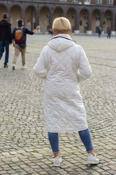 Diamond fehér bélelt steppelt kabát