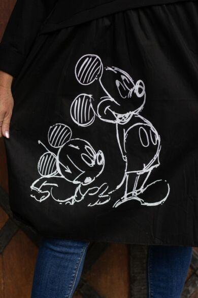 Mickey egér mintás fekete tunika-ruha