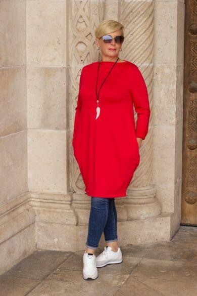 Natalia piros színű oldalt zsebes tunika-ruha