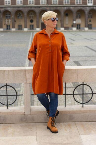 Rozsda  színű puha vékony bársony ing