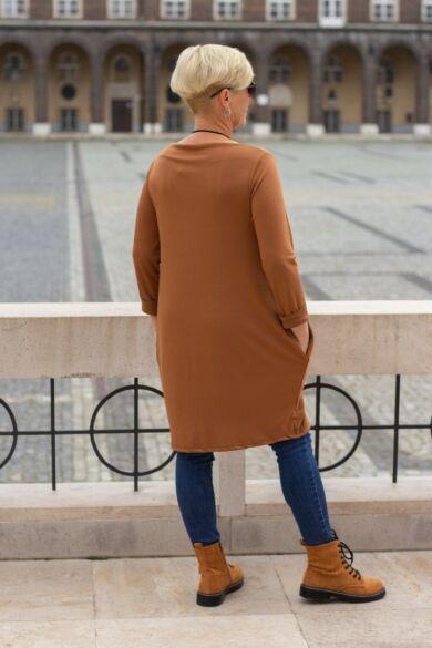 Natalia rozsda színű oldalt zsebes tunika-ruha