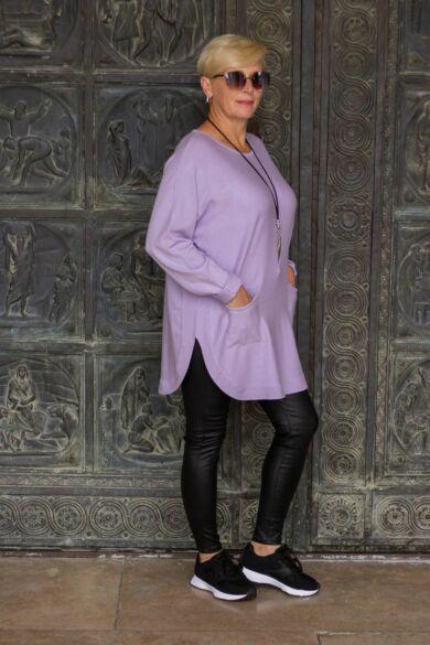 Lora halványlila kötött pulóver