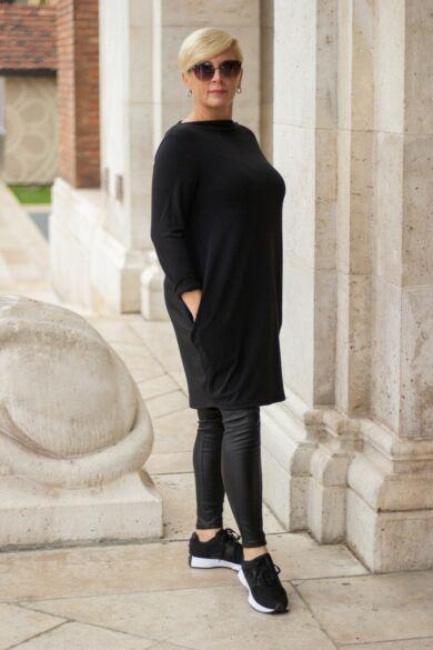 Natalia fekete színű oldalt zsebes tunika-ruha