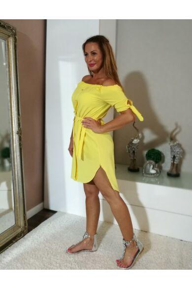 Sárga  elöl gombos vállról lehúzható tunika-ruha.