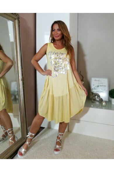 Sárga pamut, elején feliratos laza stílusú ruha