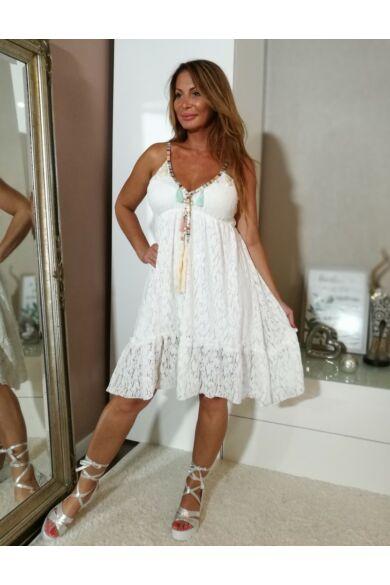 Pántos fehér csipke ruha