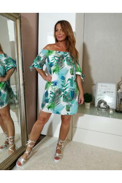 Fehér alapon kék- zöld levél mintás, vállról lehúzható ruha