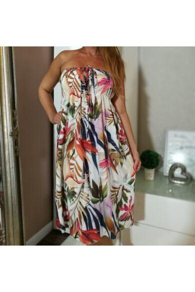 Fehér alapon színes egzotikus virágmintás, mellrésznél gumírozott ruha