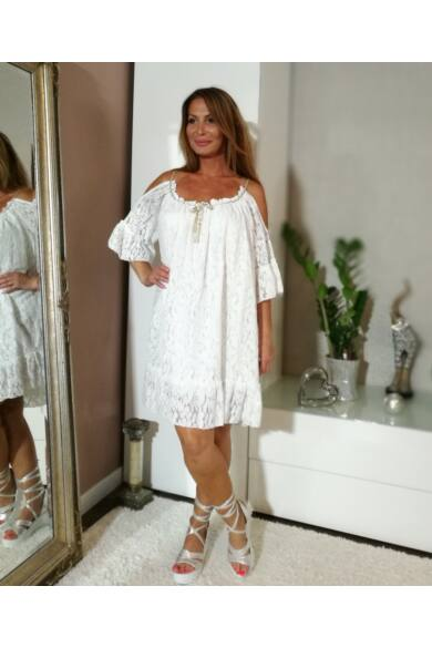 Fehér bő stílusú pántos csipke ruha