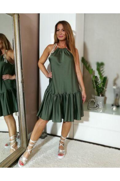 Zöld selyem hatású fodros, pántos ruha