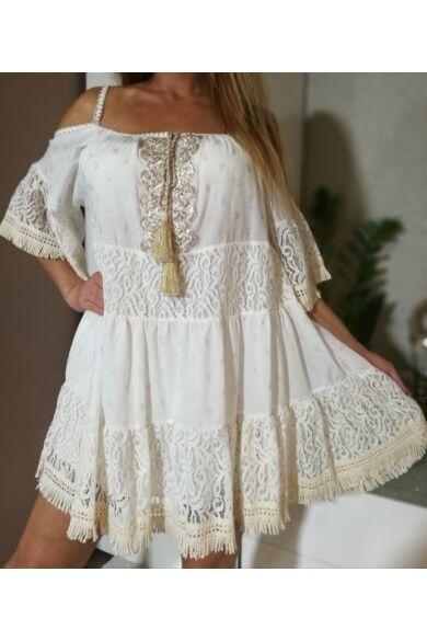 Fehér csipke ruha arany díszítéssel