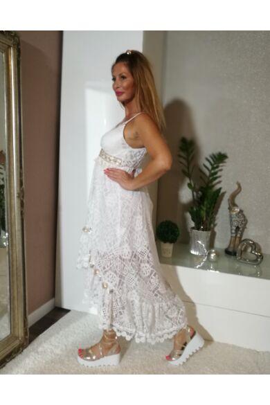 Fehér fodros csipke ruha arany díszítéssel