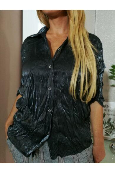 Sheron ezüstös, fekete színű, gyűrt, selyem hatású ing