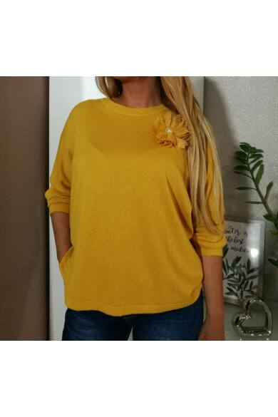 Lora mustárszínű puha kötött pulcsi