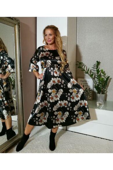Fekete alapon virágos hosszú ruha