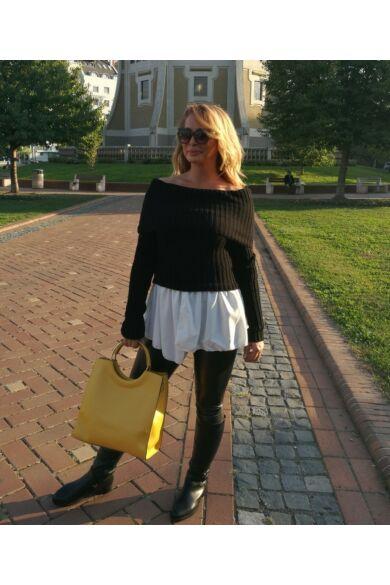 Fekete, fehér ingbetétes, bordás kötött pulcsi