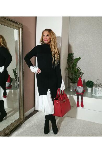 Amy fekete kötött ruha, alján fehér vászon betéttel
