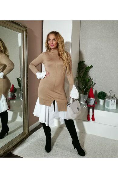 Amy bézs kötött ruha, alján fehér vászon betéttel