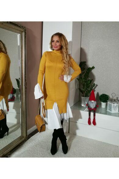 Amy mustárszínű kötött ruha, alján fehér vászon betéttel