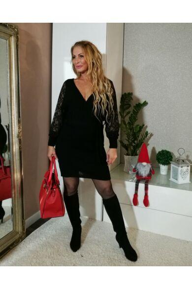 Stella fekete csipkés ujjú kötött ruha