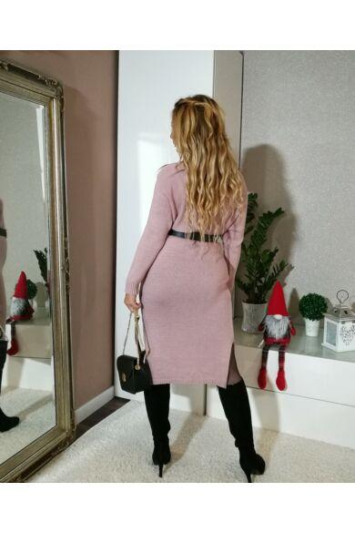 Puder színű maxi kötött ruha