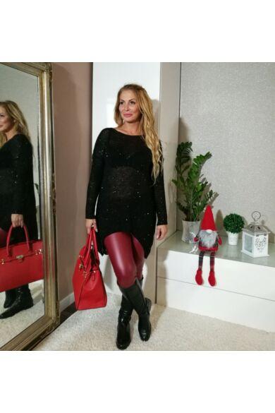 Lucia fekete csillogós vékony kötött pulcsi