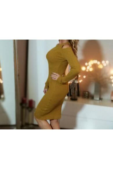 Mustár bordás kötött ruha