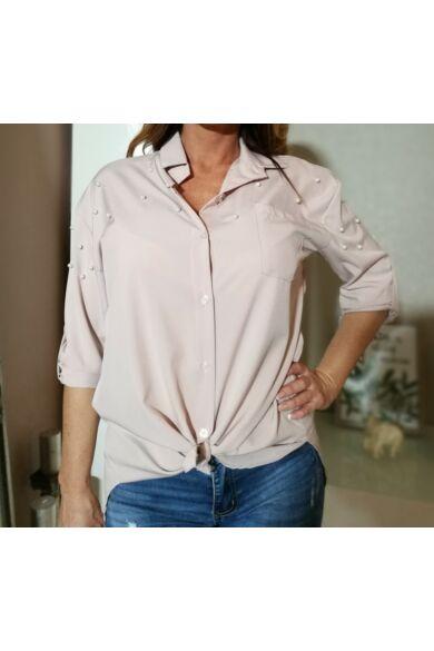Puder ,vállrésznél gyöngyös ing.