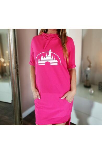 Yesstory  pinkszínű  kapucnis,  zsebes pamut  tunika.