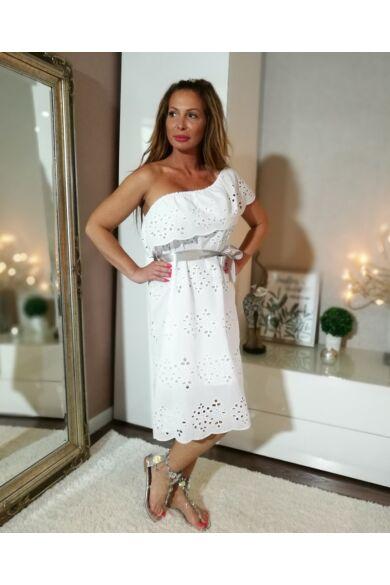 Hófehér Madiéra csipke, pamut-vászon ruha