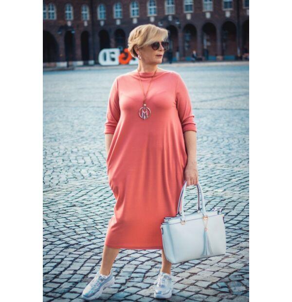 Mia lazacszínű zsebes pamut tunika-ruha