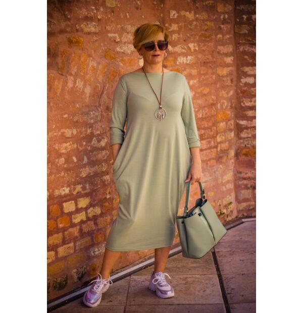 Mia menta zöld zsebes pamut tunika-ruha