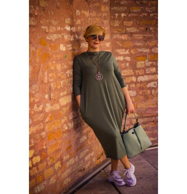 Mia khaki-zöld zsebes pamut tunika-ruha