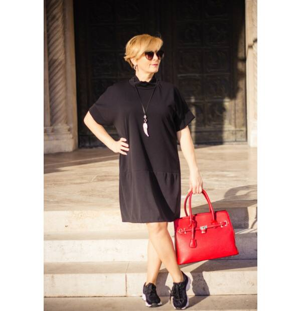 Sophia fekete, laza stílusú tunika-ruha