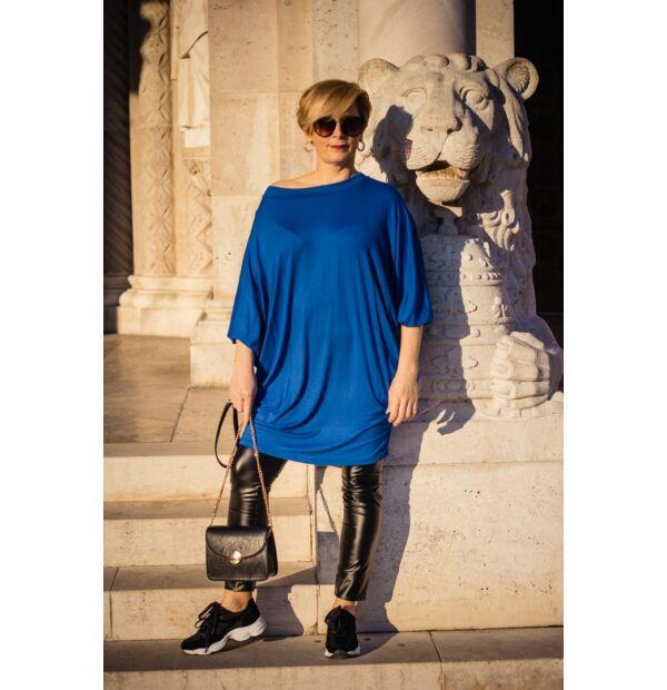 Eleonora kék színű laza stílusú puha pamut tunika