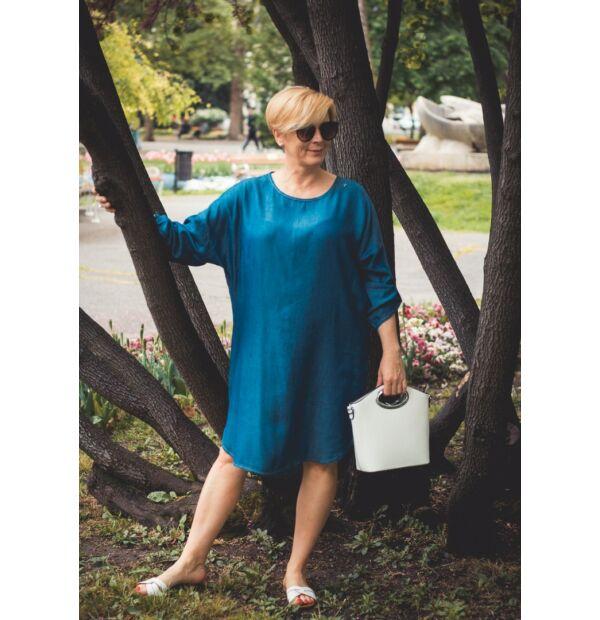 Leijla vékony farmer-vászon laza stílusú tunika-ruha