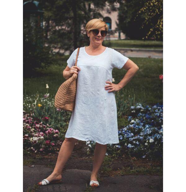 Azura fehérszínű A vonalú pamut-lenvászon ruha