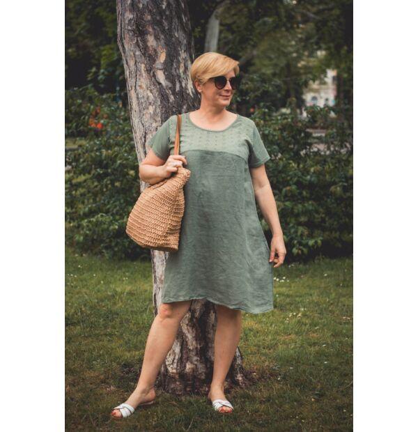 Azura zöldszínű A vonalú pamut-lenvászon ruha