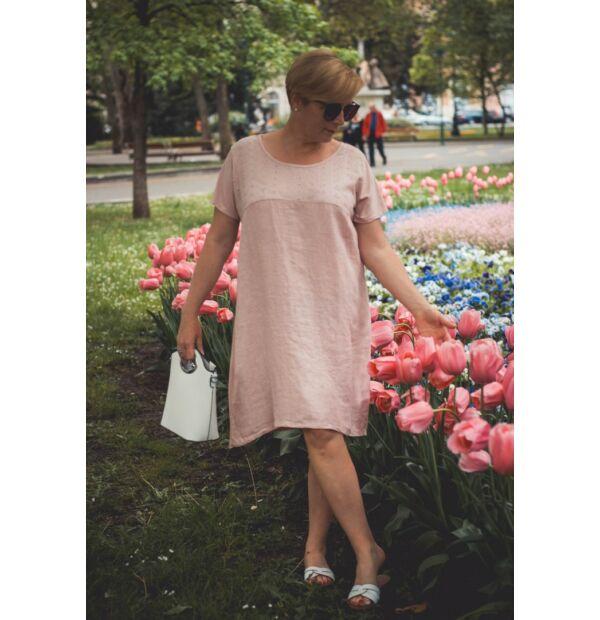Azura púderszínű A vonalú pamut-lenvászon ruha